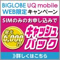 人気のiスマホもWeb申し込み限定特典あり!BIGLOBE UQモバイル