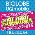 他社からの乗り換え(MNP)でお得な特典あり!BIGLOBE UQモバイル